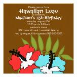 Invitación hawaiana del cumpleaños del fiesta de L