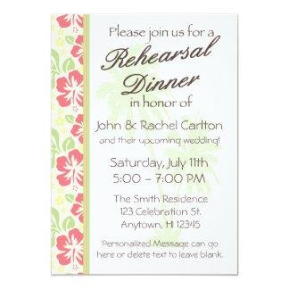 Invitación hawaiana del fiesta de cena del ensayo invitación 12,7 x 17,8 cm