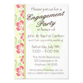 Invitación hawaiana del fiesta de compromiso de