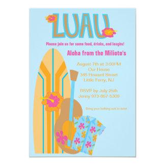Invitación hawaiana del fiesta del tablero de