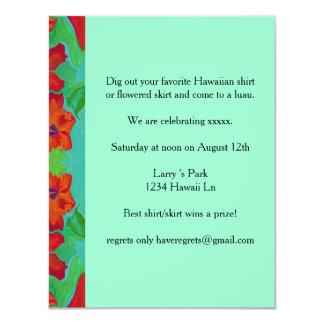invitación hawaiana del luau