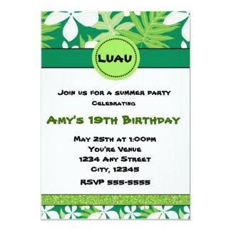Invitación hawaiana floral verde del verano del