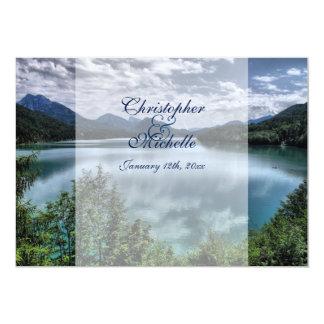 Invitación hermosa del boda del lago mountain