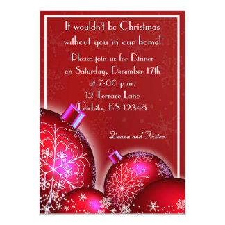 Invitación hermosa del fiesta de cena de navidad