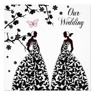 Invitación homosexual y lesbiana del boda con dos
