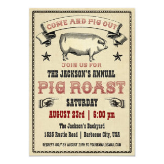 Invitación II de la carne asada del cerdo del