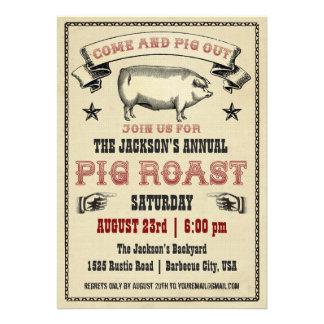 Invitación II de la carne asada del cerdo del vint