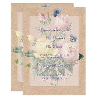 Invitación inglesa del boda de la rosaleda invitación 12,7 x 17,8 cm
