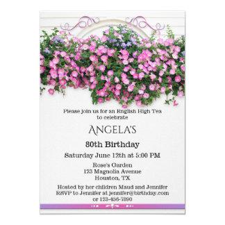 Invitación inglesa floral elegante de la fiesta de