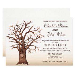 Tarjeta Invitación inicial tallada árbol rústico del boda