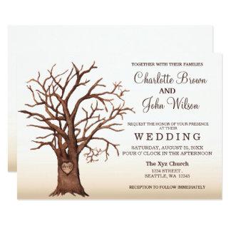 Invitación inicial tallada árbol rústico del boda invitación 12,7 x 17,8 cm