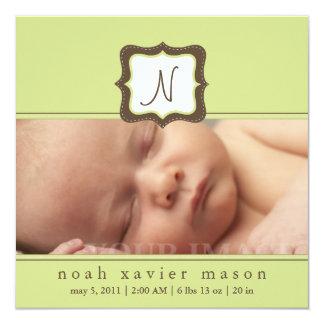 Invitación inicial verde del nacimiento
