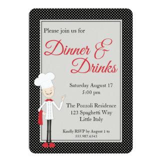 Invitación italiana de la cena del cocinero y del