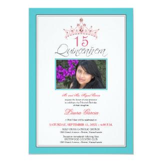Invitación Jeweled rosa de Quinceanera de la tiara