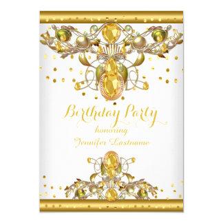 Tarjeta Invitación Jewelled blanco 2 de la fiesta de