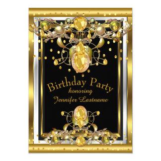 Tarjeta Invitación Jewelled negro de la fiesta de