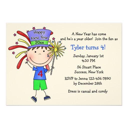 Invitación juvenil de la fiesta del Año Nuevo/cump