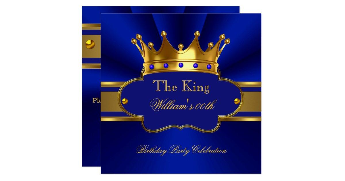 Invitación La fiesta de cumpleaños del oro del rey azul real | Zazzle.es