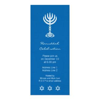 Invitación larga azul del adorno de Jánuca