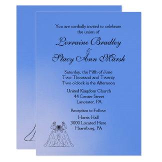 Invitación lesbiana azul del boda