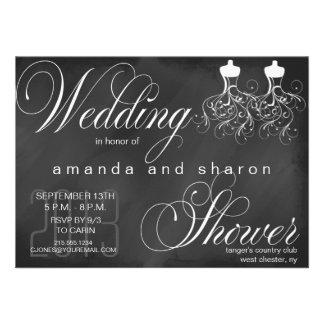 Invitación lesbiana de la ducha del boda de la piz