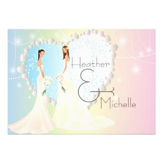 Invitación lesbiana de la novia y del boda de la n