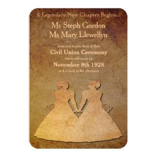 Invitación lesbiana del boda de la capa de papel