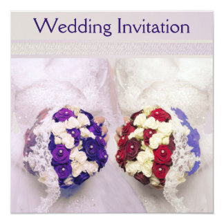Invitación lesbiana del boda de las novias del
