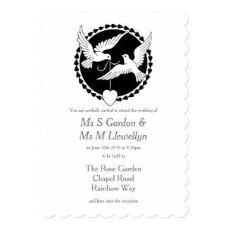 Invitación lesbiana elegante del boda de las invitación 12,7 x 17,8 cm