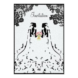 Invitación lesbiana gay del boda con dos novias invitación 12,7 x 17,8 cm