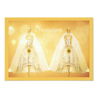 Invitación lesbiana gay del boda del oro elegante