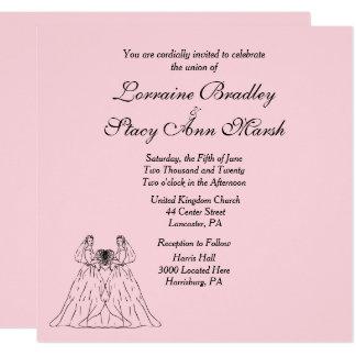 Invitación lesbiana rosada del boda