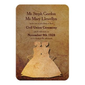 Invitación lesbiana rústica oscura del boda invitación 8,9 x 12,7 cm