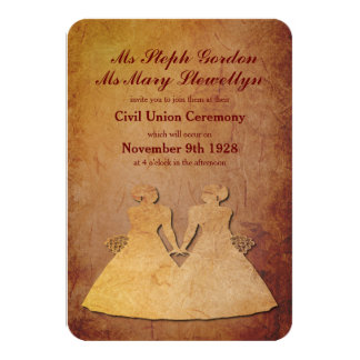 Invitación lesbiana rústica roja del boda invitación 8,9 x 12,7 cm