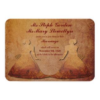 Invitación lesbiana rústica roja llameante 2 del invitación 8,9 x 12,7 cm