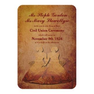 Invitación lesbiana rústica roja llameante del invitación 8,9 x 12,7 cm