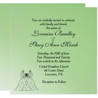 Invitación lesbiana verde del boda
