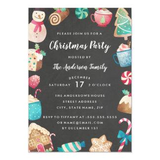 Invitación linda de la fiesta de Navidad de la