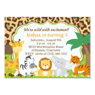 Invitación linda del animal del safari