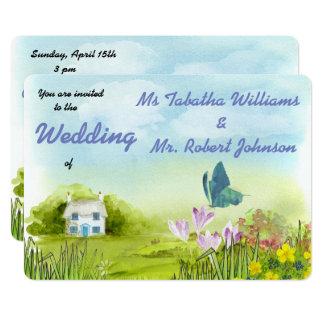 Invitación linda del boda de la pintura del