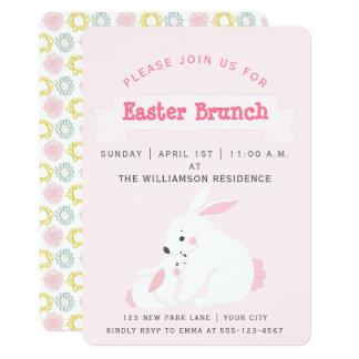 Invitación linda del brunch de Pascua del conejito