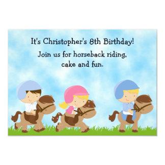 Invitación linda del cumpleaños de la equitación invitación 12,7 x 17,8 cm