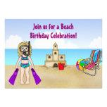 Invitación linda del cumpleaños de la playa para l