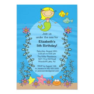 Invitación linda del cumpleaños de la sirena de