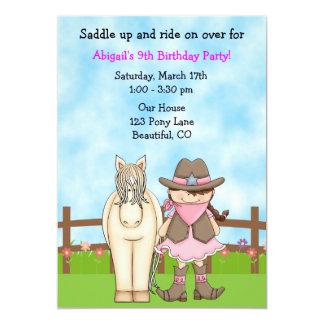 Invitación linda del cumpleaños de la vaquera y