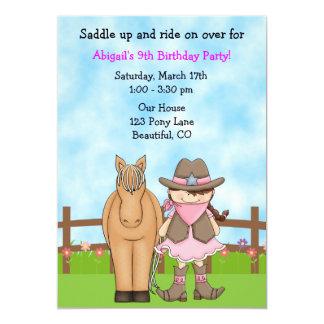 Invitación linda del cumpleaños de la vaquera y invitación 12,7 x 17,8 cm