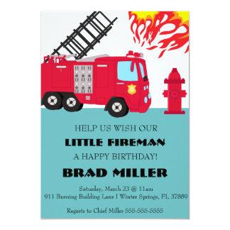 Invitación linda del cumpleaños del bombero del