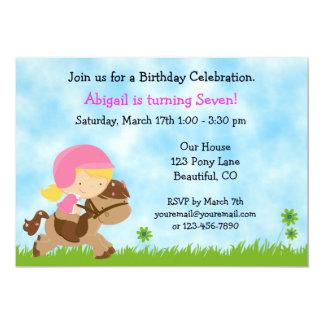 Invitación linda del cumpleaños del caballo para invitación 12,7 x 17,8 cm