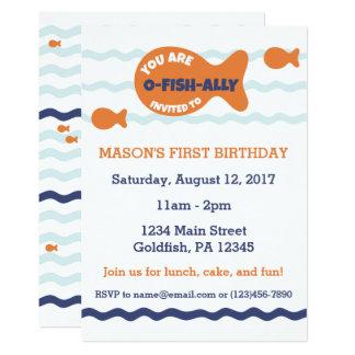 Invitación linda del cumpleaños del Goldfish