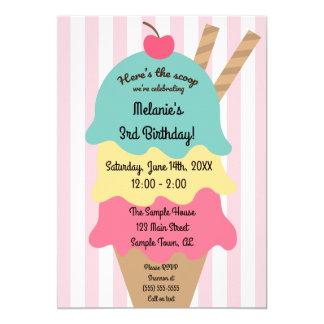 Invitación linda del cumpleaños del helado